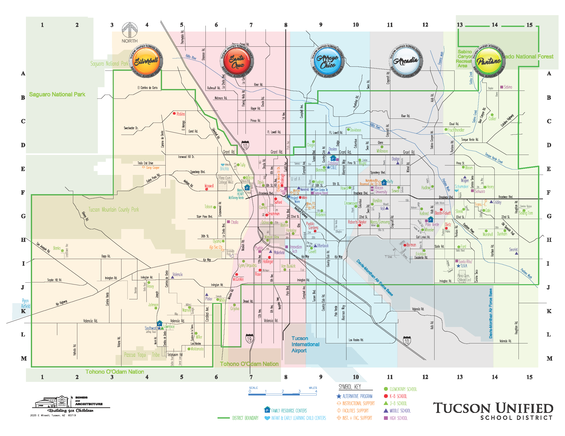 This map shows the Tucson Unified School District regions from west to east: Silverbell, Santa Cruz, Arroyo Chico, Arcadia, and Pantano.  It shows the district's boundaries: in the southWest by the Tohono O'Odam Nation, in the northwest by the Saguaro National Park, in the northeast by the Coranado National Forest, in the southeast by the Davis-Monthan Air Force Base.  Also pinpointed on the map are the locations of district sites, including: Family Resource Centers, Infant & Early Learning Child Centers, Alternative Programs, Instructional Support, Facilities Support, Instructional and Facilities Support, Elementary Schools, K-8 Schools, 3-8 Schools, Middle Schools, and High Schools.