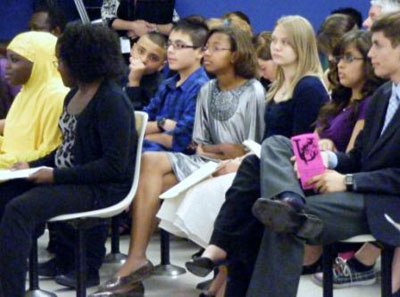 Photo of students at council meeting