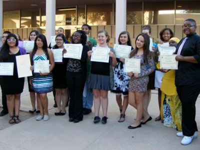Photo of students with certificates