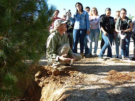 Ruddick and students head to the outdoor classroom