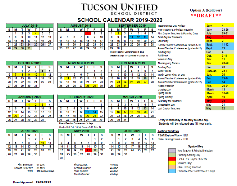 Image of Calendar Option A, 2019-2020. Please refer to PDF for dates.