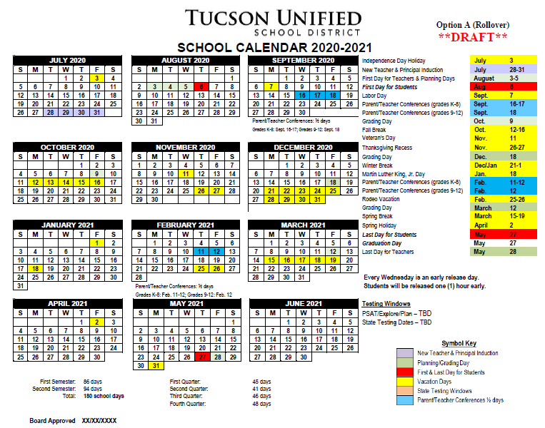 Image of Calendar Option A, 2020-2021. Please refer to PDF for dates.