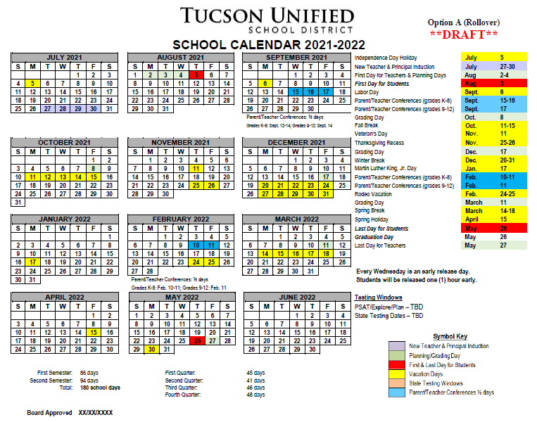 Image of Calendar Option A, 2021-2022. Please refer to PDF for dates.