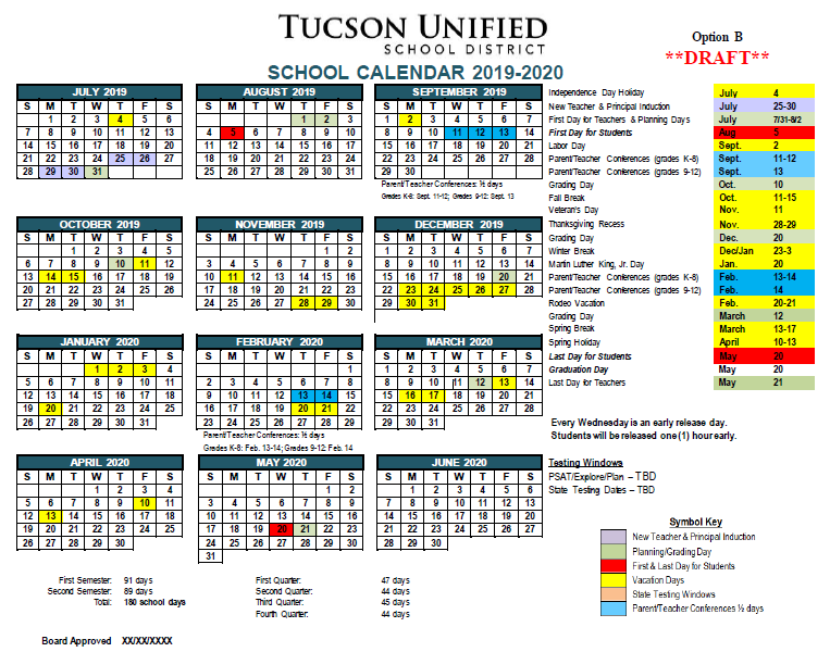 Image of Calendar Option B, 2019-2020. Please refer to PDF for complete dates.