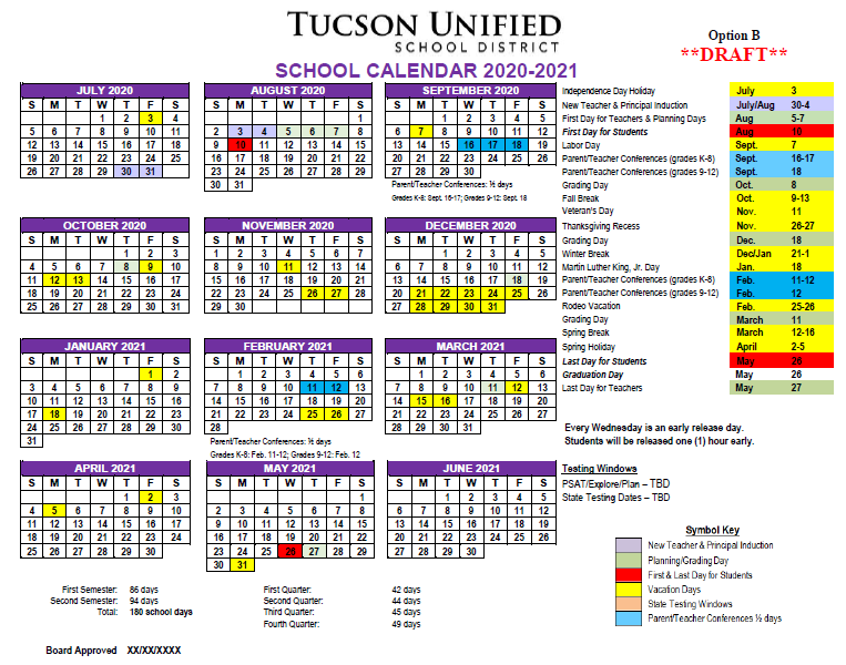 Image of Calendar Option B - 2020-2021. Please refer to PDF for complete dates.