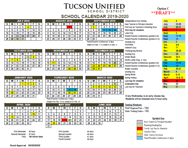 Image of Calendar Option C - 2019-2020. Please refer to PDF for complete dates.