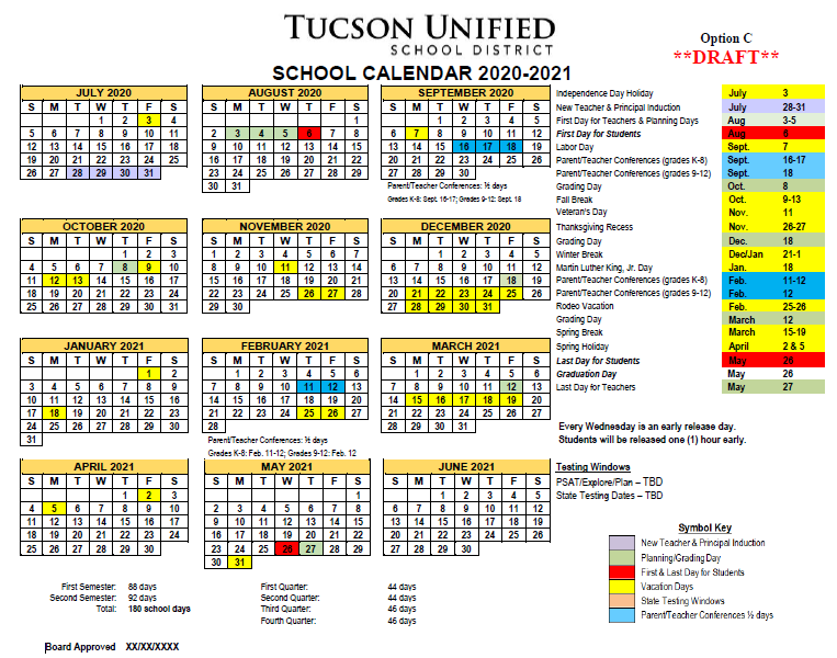 Image of Calendar Option C - 2020-2021. Please refer to PDF for complete dates.