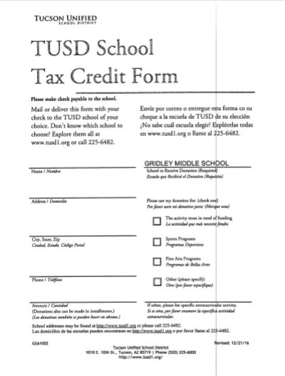 Tax Credit FORM for Gridley Middle School CLICK HERE