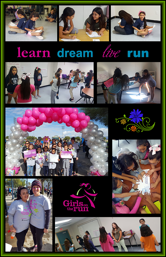 Girls on the Run pictures of the girls at practice and events