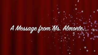 A message from Ms. Almonte
