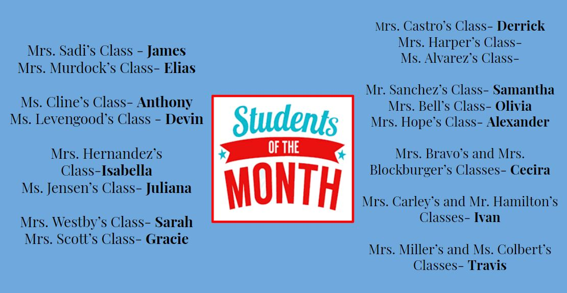 Students of the month!  Mrs. Sadi's Class - James Mrs. Murdock's Class- Elias  Ms. Cline's Class- Anthony Ms. Levengood's Class - Devin  Mrs. Hernandez's Class-Isabella Ms. Jensen's Class- Juliana  Mrs. Westby's Class- Sarah Mrs. Scott's Class- Gracie Mrs. Castro's Class- Derrick Mrs. Harper's Class-  Ms. Alvarez's Class-  Mr. Sanchez's Class- Samantha Mrs. Bell's Class- Olivia Mrs. Hope's Class- Alexander  Mrs. Bravo's and Mrs. Blockburger's Classes- Cecira  Mrs. Carley's and Mr. Hamilton's Classes- Ivan  Mrs. Miller's and Ms. Colbert's Classes- Travis