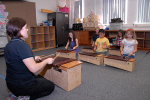 Photo of students in music activity