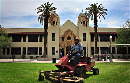 Photo of lawnmower at historic Safford K-8 school