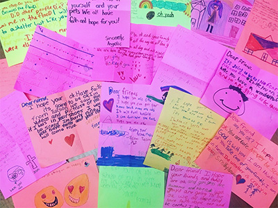 Letters written by 4th graders at Oyama for Hurricane Harvey victims.