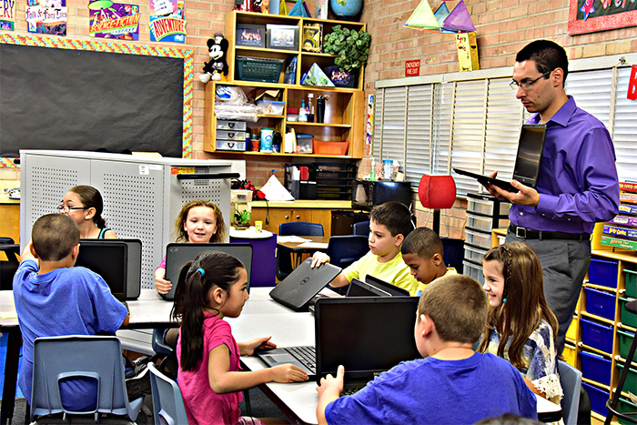 Photo of laptops used in elementary classroom